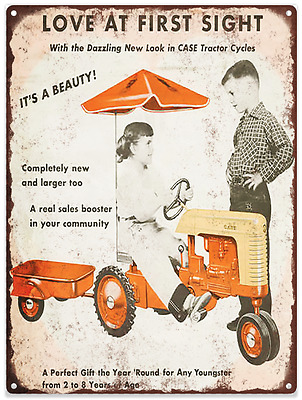 Pedal Car Case Tractor Gas Advertising Ad Baked Metal Repro Sign 9x12 60141