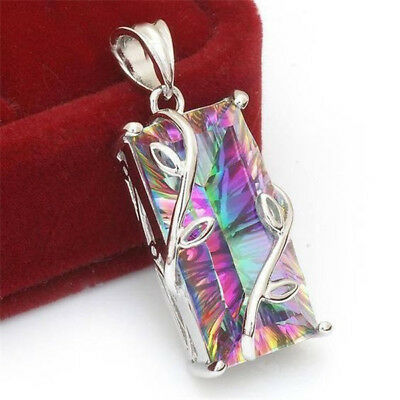 925 Silver Huge Mystic Rainbow Topaz Pendant Chain Chocker Necklace Party Gift