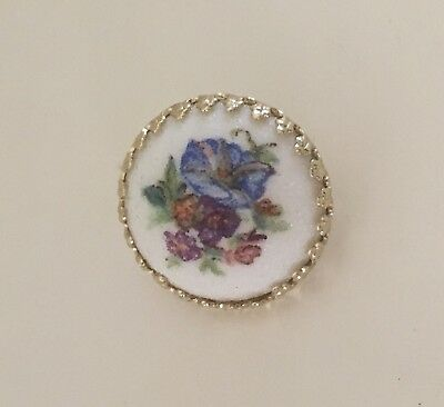 Vintage Germany Gold Tone White Porcelain w/ Flowers Scatter Pin Small Brooch