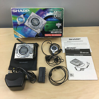 Sharp MD-MS722H Portable Mini-Disc Player Recorder Boxed with Carry Bag