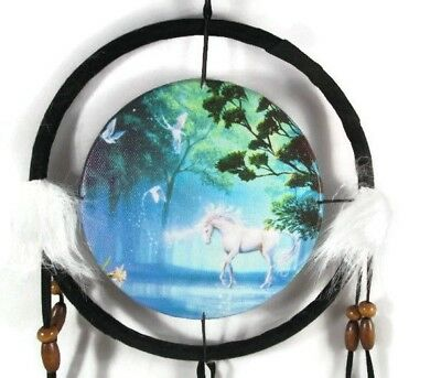 "6.5"" Unicorn By The Lake Dream Catcher With Beads,Fur & Feathers Wall Decoration"