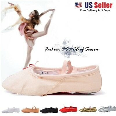 Toddler Girl & Adult  Ballet Dance Slipper Split-Sole Fashion # 1 Canvas Shoes