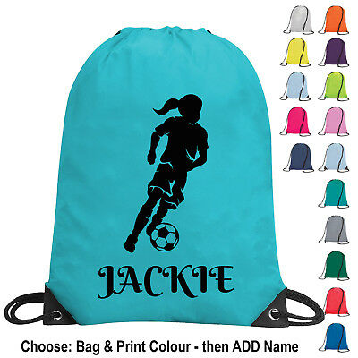 Girl Football Bag Drawstring Personalised  PE Kit Gym School Sports Kids Team