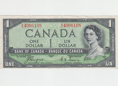 1954 Canadian $1 Bill - One Dollar Note