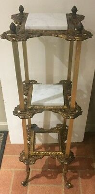 Antique Triple Shelf Victorian Cast Brass And Marble Display Pedestal