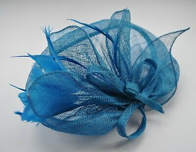Sinamay & feather fascinator. Teal blue hair clip/black head band. Wedding/Races