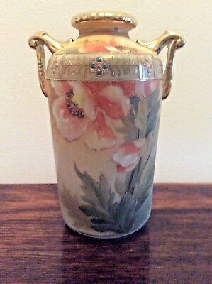 Vintage Hand Painted Nippon Vase with Gold Trim And Blue Beads