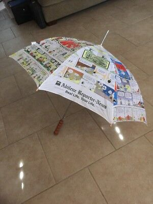 NEWSPAPER COMIC STRIP UMBRELLA features Charlie Brown,Dilbert, BC & Wizard of ID