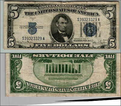 1934D $5 Great Silver Certificate Blue Seal Great Piece Of History Lotj717