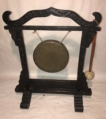 Antique Chinese Carved Wood And Bronze Pagoda Gong