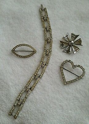 Lot of 4 Crystal Silver Vintage Antique Jewelry Heart 1 Bracelet 3 Pins GUC