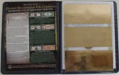 Gold Leaf Tribute Certificates U.S. Bill 22KT Gold Leaf National Collectors Mint