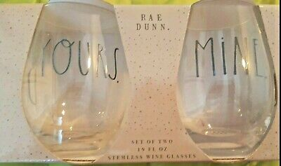"""❤️Rae Dunn ~ New ~ Stemless Wine Glasses """"YOURS"""" & """"MINE"""" ~ Set Of 2 ~ 19 oz"""