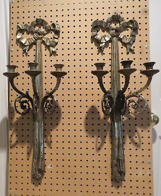 Antique Pair of Gilt Bronze Brass Bow & Tassel Three Arm Wall Candlabra Sconces