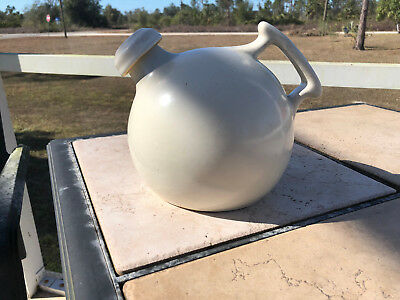 Vintage Camark Red Wing Art Pottery White Ball Water Jug Pitcher