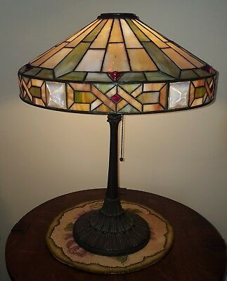 Arts & Crafts Leaded Slag Stained Glass Lamp by Wilkinson - Handel Tiffany Era