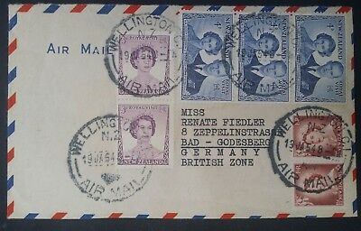 1954 New Zealand Airmail Cover ties 7 stamps canc Wellington to Germany