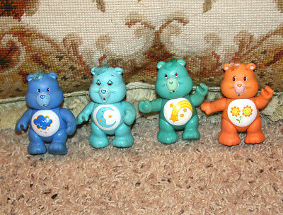 """Darling! Vintage Care Bears 3.25"""" Set Of Four Collectible Figure Toys 1983"""