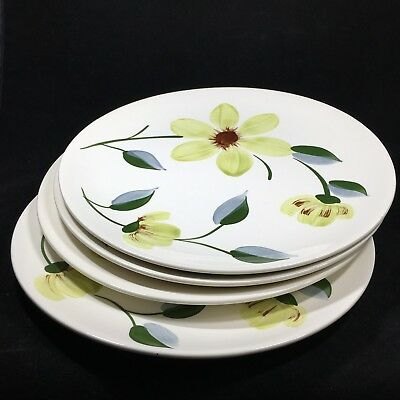 4 Blue Ridge Green Eyes Dinner Plates Southern Potteries Hand Painted