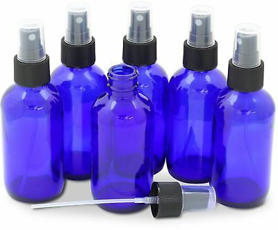 6- Pack- 4oz Cobalt Blue Glass Bottles with Black Mist Sprayer , New