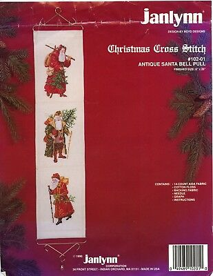 Christmas Antique Santa Bell Pull Cross Stitch Kit Janlynn #102-01 with Hardware