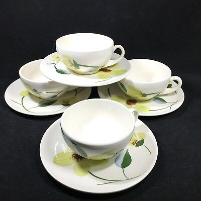 4 Blue Ridge Green Eyes Cups and Saucers Southern Potteries Hand Painted