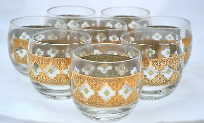 Vintage Mid Century Gold Eight Piece Glass Set