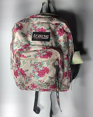 NWT Trans By Jansport Supermax Backpack Daring Daisy Pink Flowers Multiple Zip