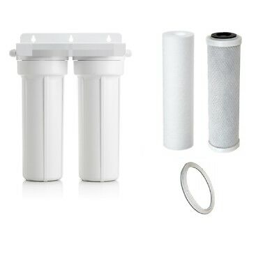 Twin UnderSink Water Filter Housing Kit inc Filters - No Tap