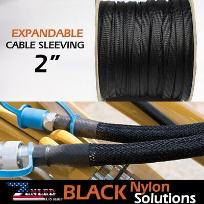 "2"" Expandable Braided Conduit Wire Cable Weave Sleeve Hose Cover Tube Soft 20ft"