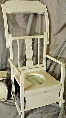 Antique Chamber Pot Wooden high Chair Commode Porcelain Potty Toilet white vtg