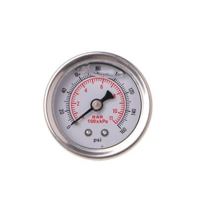 Fuel Pressure Regulator Gauge 0-160 Psi / Bar Liquid Fill Chrome Fuel Oil Gauge