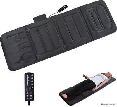 Heated Massage Mat Portable Vibrating Bed Pad Back Body Massager Remote Control