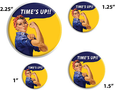 """Time's Up, United Against Harassment Pin Buttons 1"""", 1.25"""", 1.5"""", 2.25"""""""