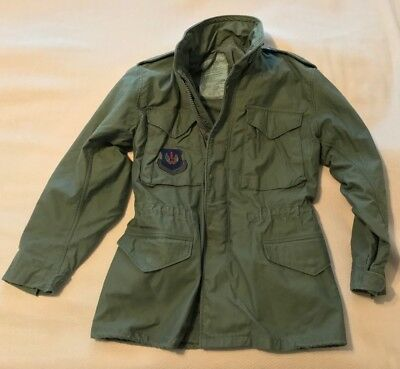 VINTAGE M65 MILITARY FIELD JACKET US ARMY AIR FORCE - 1980's ISSUE - Olive Green