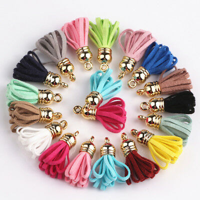 100pcs Mixed Color 28mm Small Size Suede Leather Tassels For Keychain Cellphone