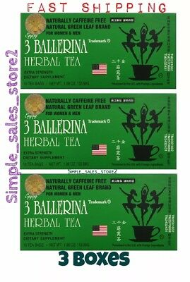 3 Boxes - 3 Ballerina Extra Strength Herbal Dieter's Tea 18-Bags