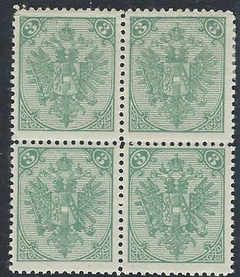 1898. Typographed Arms. 3kr block of four, Type I & II, very fine mint*