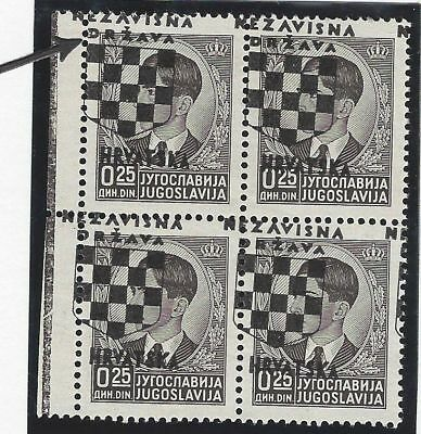 Croatia WWII. 1941 (21 April). 2nd Issue, block of 4. OVERPRINT SHIFTED/ERODED**
