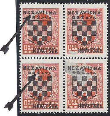 1941 (21 April). 2nd Issue. 0.50D block of four. TYPICAL ERRORS (Pos. 12 & 22)*