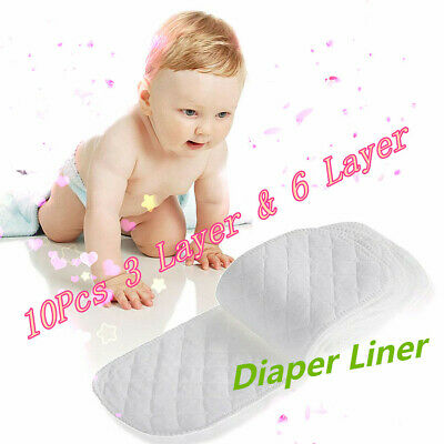 10x Cloth Cotton Baby Insert Nappy Liners 3/6 Layers Diapers Reusable Washable
