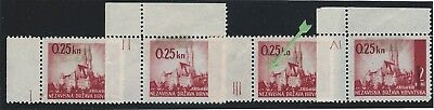 Croatia WWII. 1942 (23 June). Provisional Issue. Margins with PLATE NUMBERS *