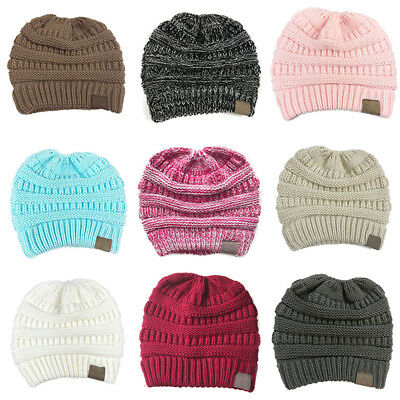Women Messy High Bun Ponytail Stretchy Knit Beanie Skull Hole Winter Warm Hat