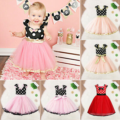 AU Stock Kids Baby Girls Clothes Bowknot Cosplay Party Princess Tulle Tutu Dress