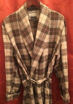 M Vintage VIYELLA 55% Wool TARTAN PLAID ROBE Saks Fifth Avenue IVORY Gold Green