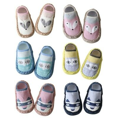Newborn Baby Boys Girls Anti Slip Shoes Animal Cartoon Slipper Boots Socks 0-18M