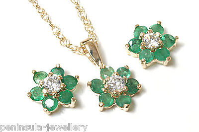 9ct Gold Emerald Cluster Pendant and Earring Set Made in UK Gift Boxed