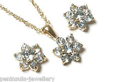 9ct Gold Blue Topaz Cluster Pendant and Earring Set Made in UK Gift Boxed