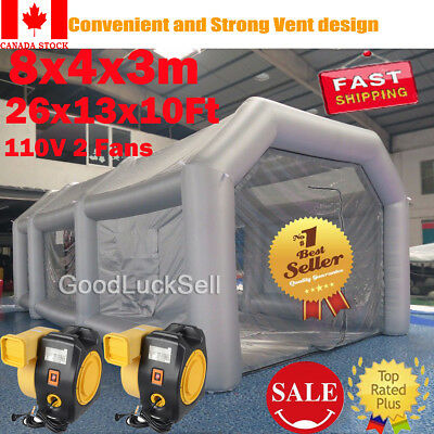 26FT Inflatable Giant Car Workstation Spray Air Paint Booth Tent 8*4*3M w/ 2 Fan