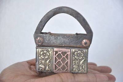 1940's Old Iron Unique Solid Brass & Copper Fitted Screw System Padlock